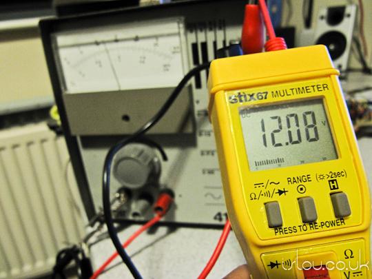 Bench power supply set to 12v