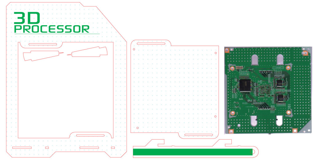 Vector Graphics for the 3D processor perspex mount, once again a scan of the board allows laser cut holes for PCB raisers.