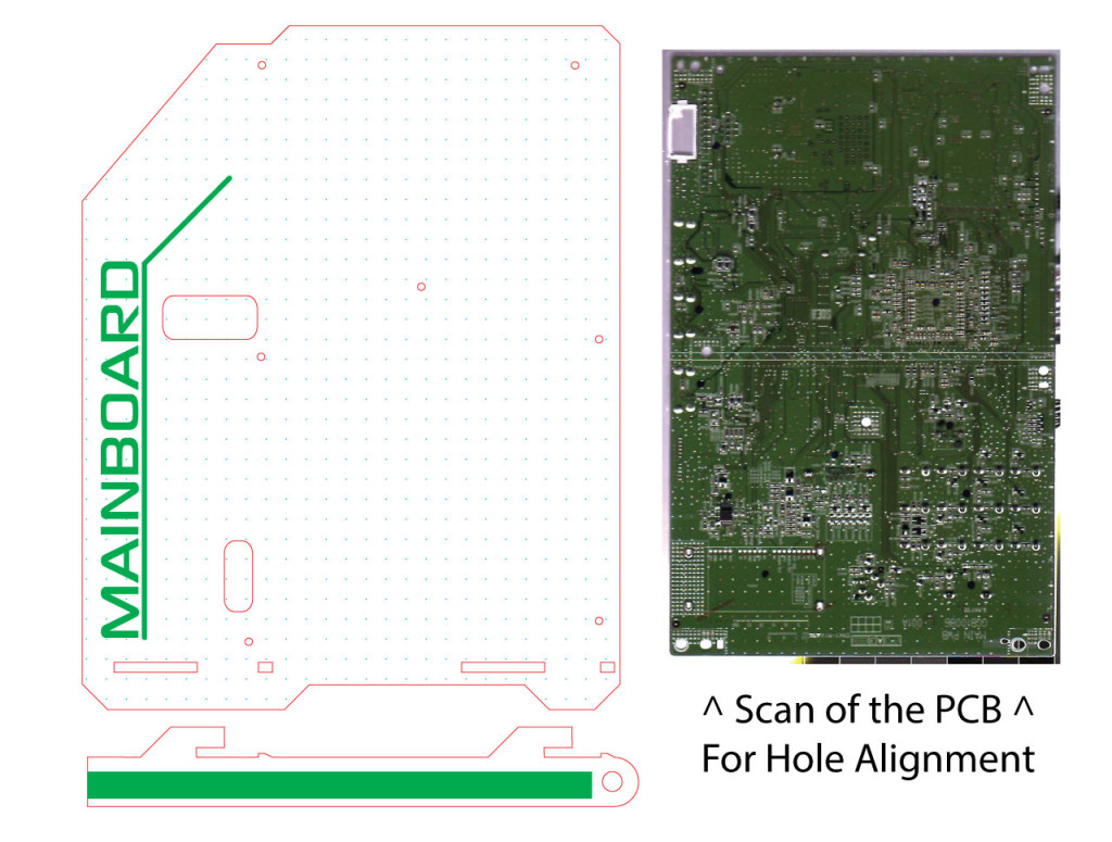 Vector Graphics for the Mainboard perspex mount, here a scan of the mainboard allows laser cut holes for PCB raisers.
