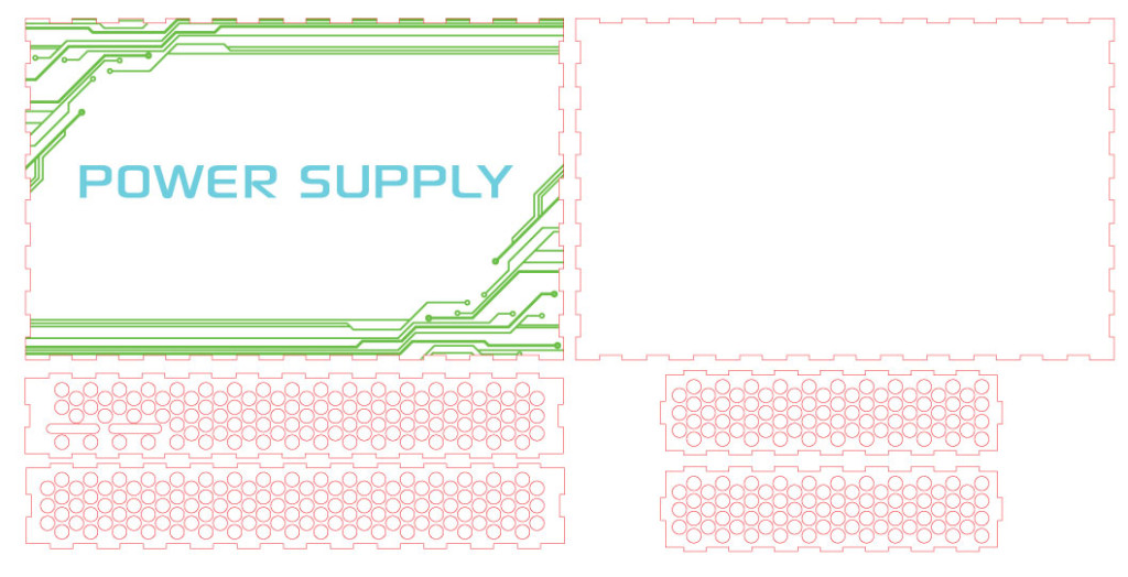 Vector Graphics for the power PCB perspex enclosure.