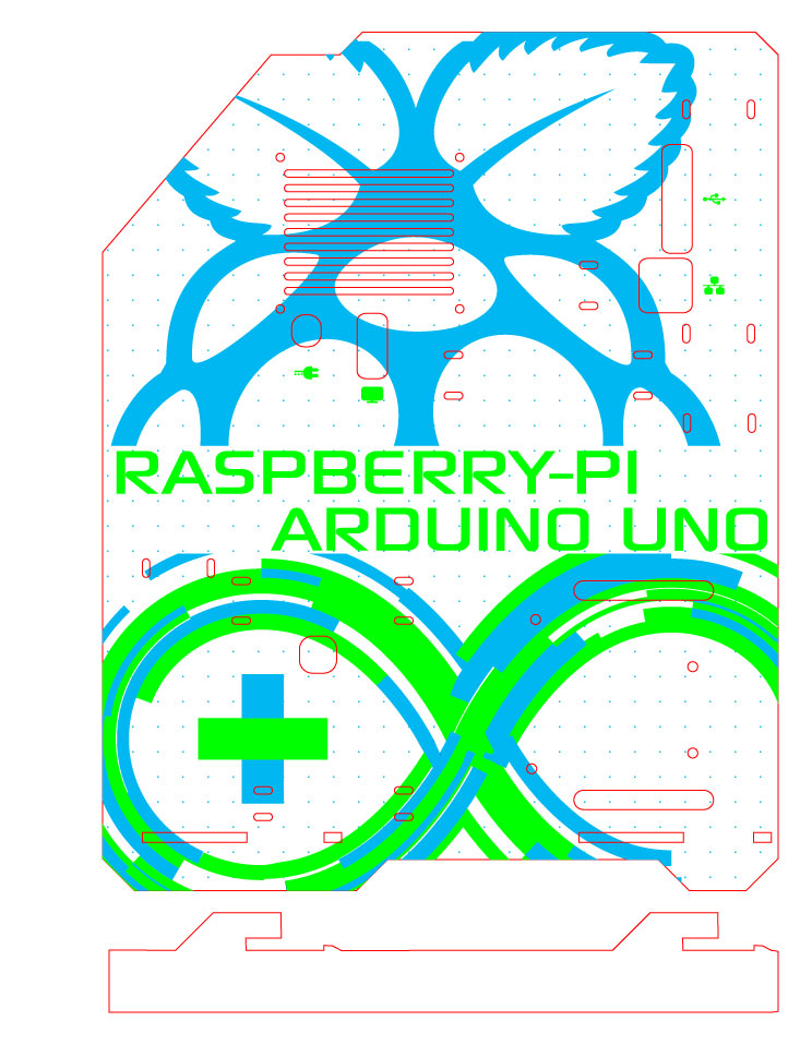 Vector Graphics for the Raspberry Pi and Arduino perspex. The different colours represent different depths of raster engraving.